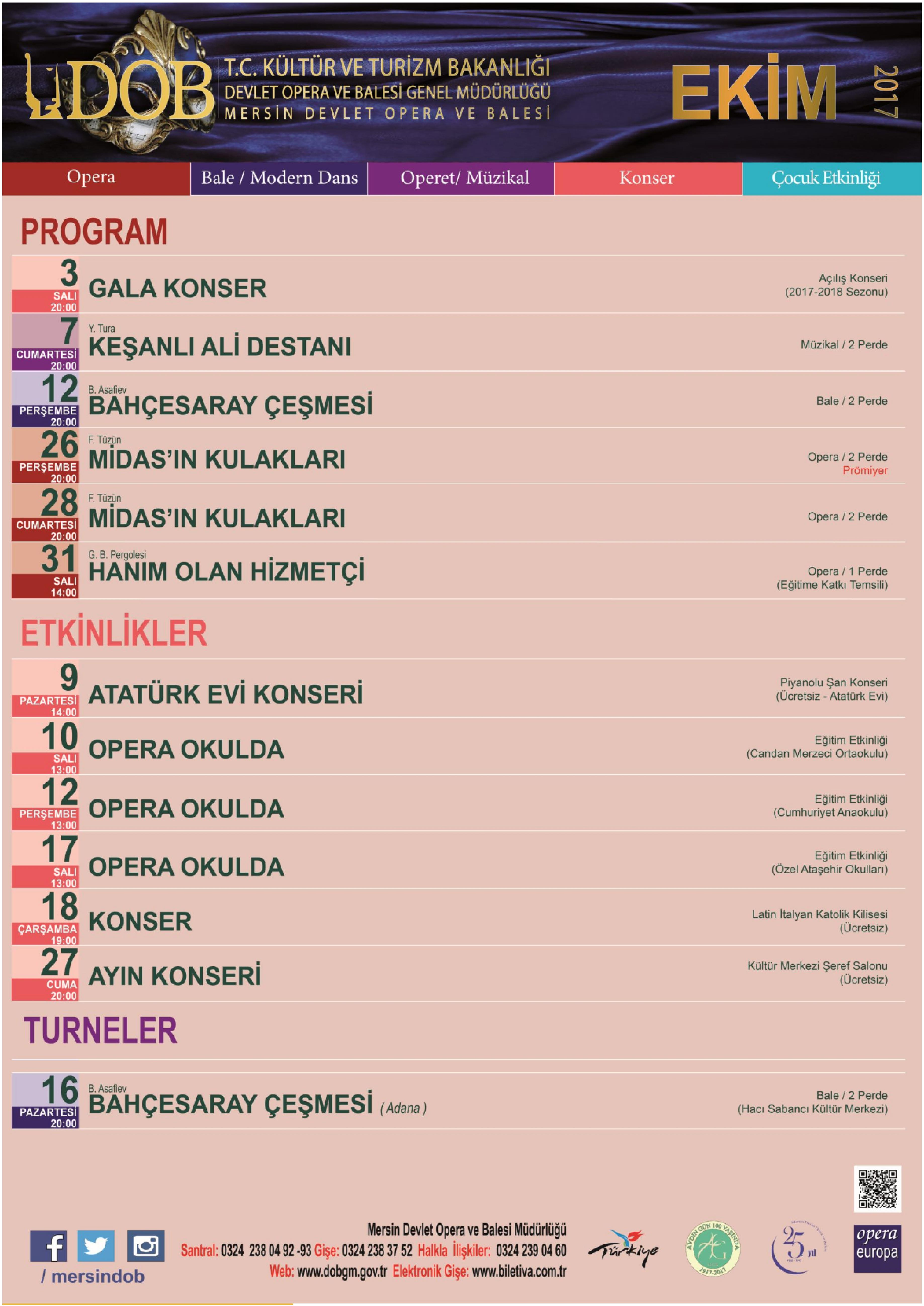 Mersin State Opera and Ballet – The Program of the October Month of 2017